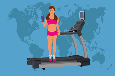 fitness woman standing of treadmill with protein shake, vector illustration Illustration