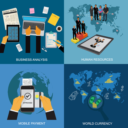 business analysis, human resources, mobile payment, world currency, concept, flat style, vector illustration, template
