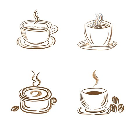 steamy: set of steamy coffee and tea cups, sketch style, doodle, vector illustration Illustration