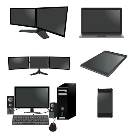 electronics, set, monitor, laptop, desktop, tablet, cellphone, speakers, vector illustration