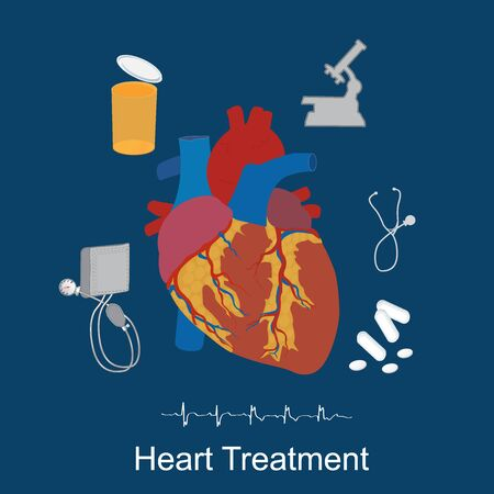 ventricle: Heart treatment concept, medical icons, healthcare, flat style, vector illustration, template