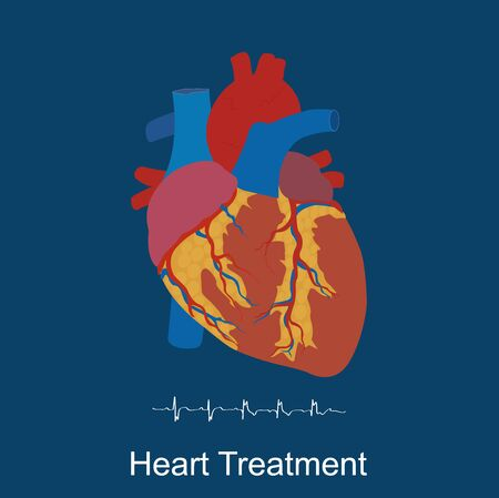 heart valves: Heart treatment concept, medical, healthcare, flat style, vector illustration, template Illustration