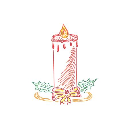 christmas candle: Christmas candle, sketch, doodle, vector illustration
