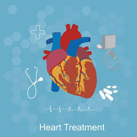 arterial: Heart treatment concept, medical icons, healthcare, flat style, vector illustration, template