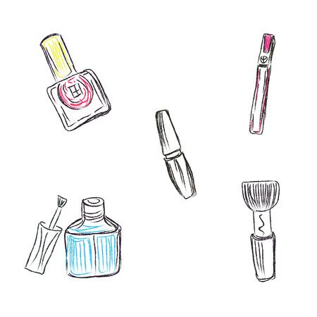 Skizze, Make-up-Produkte, Kosmetika, Vektor-Illustration Standard-Bild - 54504191