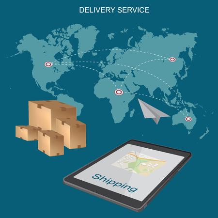 Worldwide, shipping, delivery service, concept, flat vector illustration