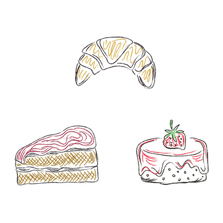 Kuchen, Desserts, Skizze, Gekritzel, Vektor, Illustration Standard-Bild - 54504193