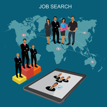 job opportunity: flat vector illustration of people who are looking for new job isolated on world map background