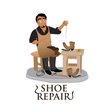 cobbler: shoemaker, cobbler, shoe repair, work, flat vector illustration, banner, app Illustration