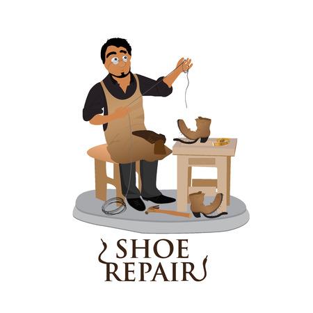 cobbler: shoemaker, cobbler, shoe repair, work, flat vector illustration, banner, app Illustration