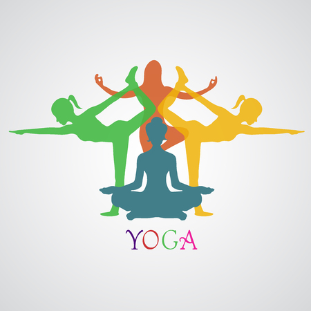 mediation: Vector illustration of Yoga poses, woman, Pilates, vector illustration, app,banner Illustration