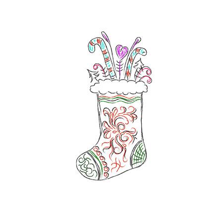 christmas sock: Christmas sock, sketch, vector illustration