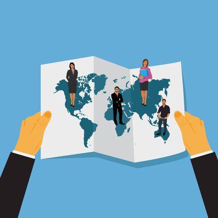 platte vector illustratie van de handen houden van de wereld kaart met mensen uit het bedrijfsleven