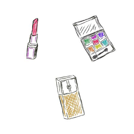 Sketch, Makeup, products, cosmetics, vector illustration