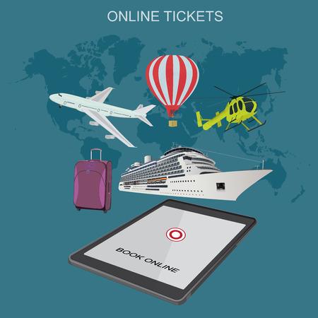 booking: online tickets, booking, flat vector illustration Illustration