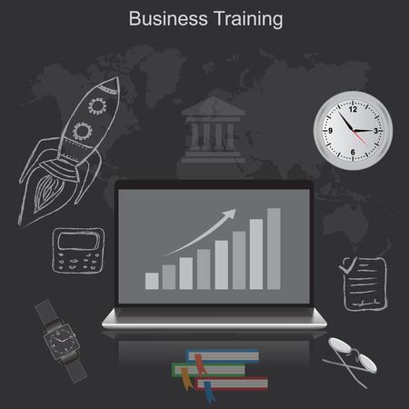 business training vector Çizim
