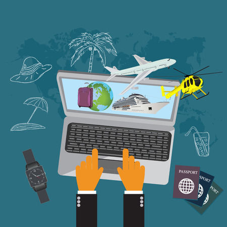 Travel, luggage, cruise liner, helicopter, airplane, flat vector illustration, apps, banner