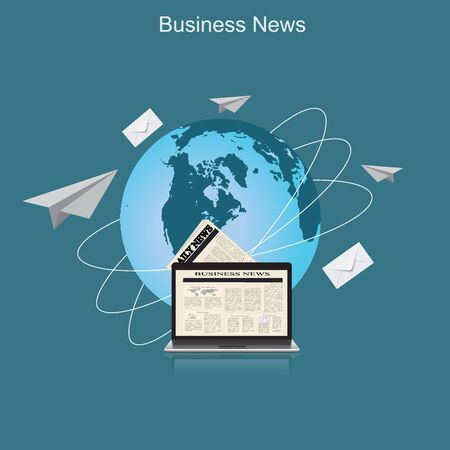 business news: business news, globe, flat vector illustration, apps, banner