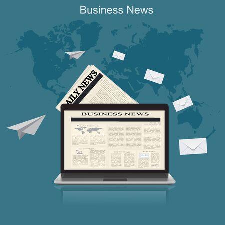 business news: business news, flat vector illustration, apps, banner
