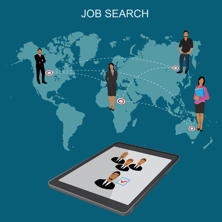 headhunting: Job search, Hr, headhunting, human resources, flat vector illustration