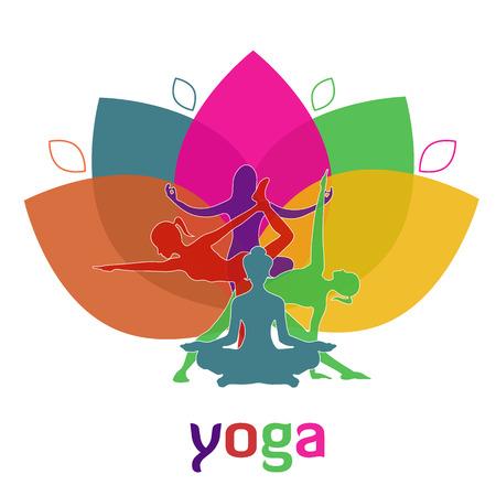 app banner: Vector illustration of Yoga poses, woman, Pilates, vector illustration, app, banner