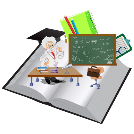 education concept, professor giving lecture , vector illustration in flat design for web sites, Infographic Illustration