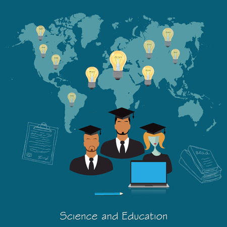 international students: Science and education concept, distance, online, learning professor, international students, vector illustration in flat design for web sites, Infographic design Illustration