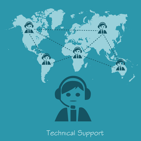 technical support, operator, vector illustration in flat design for web sites, Infographic design Çizim