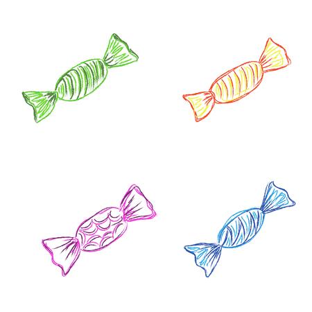 hard candies, wrapper, sketch, vector, illustration Иллюстрация
