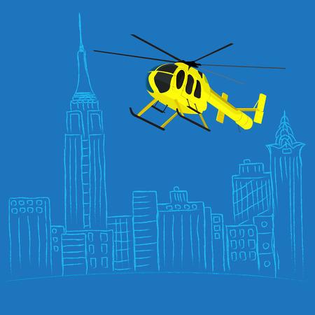 ヘリコプターのツアー コンセプト、街をスケッチ、ベクトル イラスト web サイト、インフォ グラフィックのフラットなデザインで