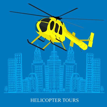 concepto del tour en helicóptero, ciudad boceto, ilustración vectorial en diseño plano para sitios web, Infografía