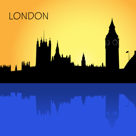 houses of parliament   london: London skyline, vector illustration in flat design for web sites, Infographic design Illustration