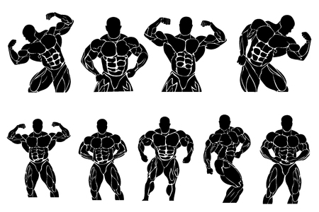 set of bodybuilding icons, vector illustration Illustration