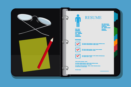 looseleaf: Open archive folder, resume, cv, vector illustration Illustration