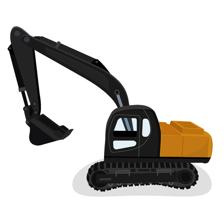 hopper: excavator, vector illustration