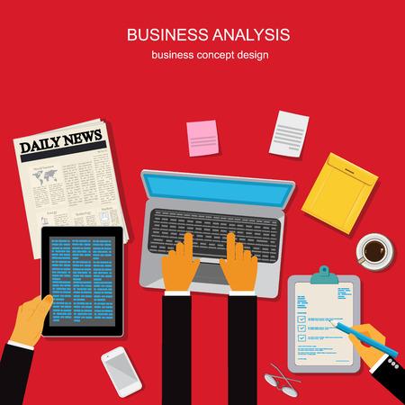 Business analysis concept, template, banner, vector illustration in flat design for web sites, Infographic design Illustration