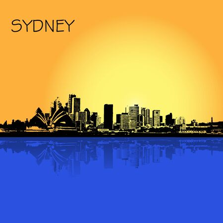 sydney skyline: Sydney Australia city skyline, vector illustration in flat design for web sites