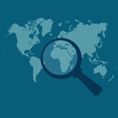 World map, magnified, vector illustration in flat design for web sites, Infographic design