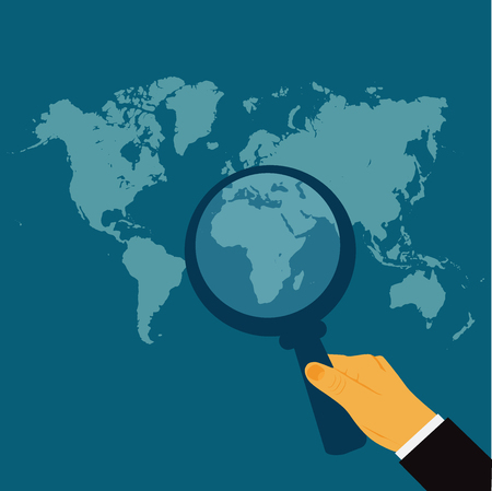hand holding magnify glass, world map, search, vector illustration in flat design for web sites, Infographic design Illustration