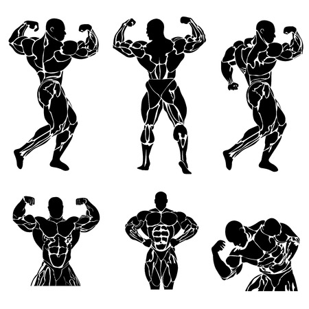 powerlifting: Bodybuilding and powerlifting concept, icon, vector illustration