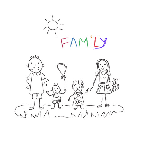groupe: family, sketch, vector illustration Illustration