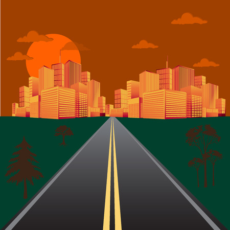 Road in the field during sunrise or sunset with views of the city skyline. Conceptual vector illustration in flat design for web sites, Infographic design