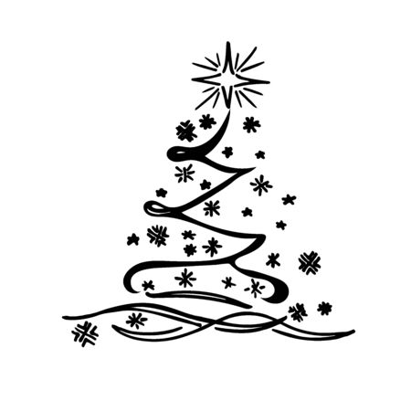 크리스마스 트리, 스케치, 벡터 일러스트