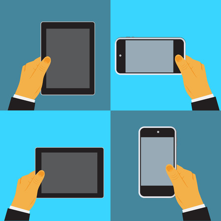 cellphone in hand: Hand holding digital tablet and cellphone,vector illustration in flat design for web sites, Infographic design