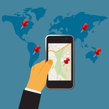 cellphone in hand: Hand holding digital cellphone,gps concept, vector illustration in flat design for web sites, Infographic design