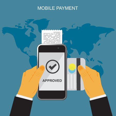 mobile banking: Mobile payment, hands holding smartphone and credit card, online banking, vector illustration in flat design for web sites, Infographic design