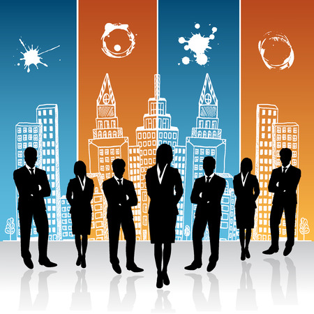 businesswoman standing: businessmen and businesswoman standing in front of sketch city background, vector, illustration Illustration