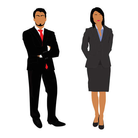 businesswoman: businessman and businesswoman isolated on white background, vector, illustration Illustration