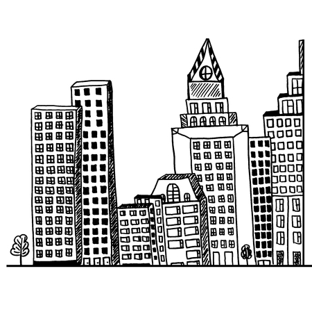 Big, city, concept, architecture, hand drawn, sketch, vector, illustration Illustration