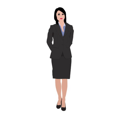 educated: businesswoman isolated on white background, vector, illustration